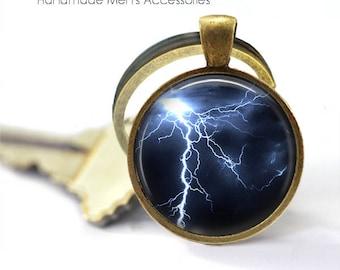 LIGHTENING STRIKE Key Ring. Extreme Weather. Stormy Sky. Map. Bronze / Silver Key Chain. **Handmade** From Australia (K053)