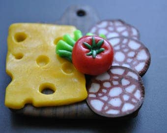 cheese and salami, A board with cheese and salami, Magnet Miniature Food, Cute Magnets Minature Food Art Unique