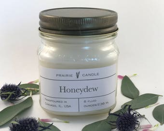Honeydew soy candle, summer candle, light fruit scented candle