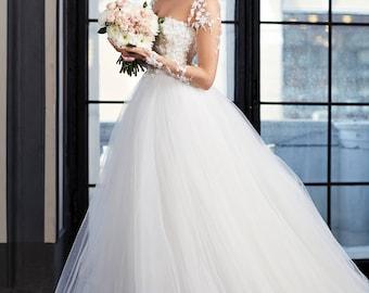 Wedding Ball gown, Fairy Wedding Dress in white, Long Bridal Gown, A line Wedding Dress, Princess Wedding Dress