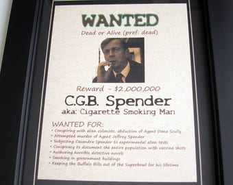 Cigarette Smoking Man - X-Files - Wanted Poster