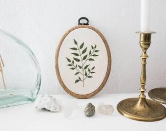Handmade Botanical Embroidery - Oval hoop