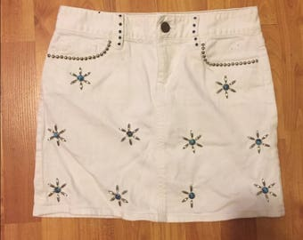 Vintage White Denim J. Crew Skirt