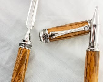Majestic Roller Ball zebra wood pen and letter opener