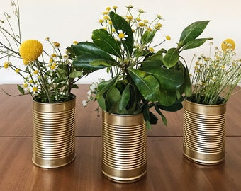 Gold tin flower vases