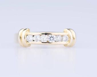 18 ct yellow gold ring 6 diamonds 1,20 ct