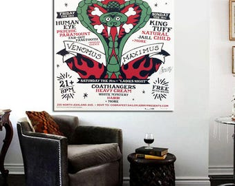 Vintage Sailor Jerry Cobrafest 24 x 20 Canvas Poster Vintage Chicago Tattoo