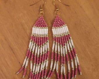 Pink and white beaded earrings