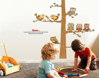 Owl Family Tree Wall Decal for kids room