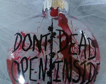Zombie, blood spatter, ornament, horror, gore, living dead, walking dead, Don't Open, Dead Inside