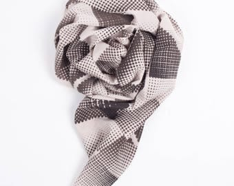Misty Silk Scarf, screen printed by hand using natural dyes