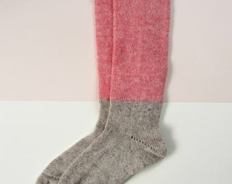 Lambswool Socks Pink+Grey