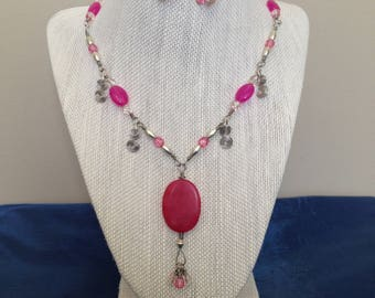 Pink and Silver Unique Necklace and Earring Set, One-of-a-Kind, Wire Work and Beads all Handmade