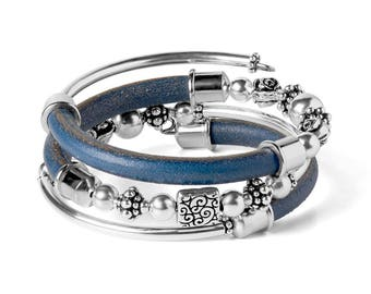 Free Spirit Leather Wrap DIY Bracelet Kit - Blue