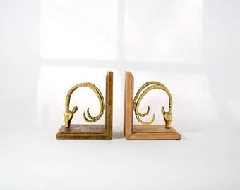 Brass ram Bookends art deco