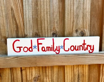 Memorial Day Wood Sign - God Family Country - USA Wood Sign- Red White and Blue- Patriotic Sign- Pallet Sign - Fourth of July