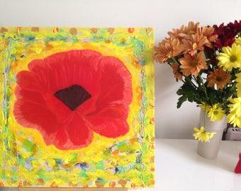 Red poppy flower in Mediterranean dreams