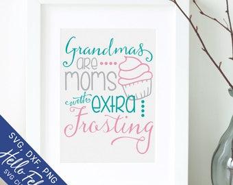 Grandma Svg, Family Svg, Cupcake Svg, Frosting Svg, Mom Svg, Dxf, Jpg, Svg files for Cricut, Svg files for Silhouette, Vector Art, Clip Art