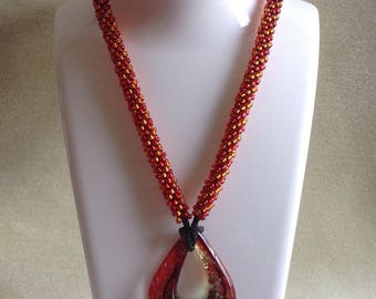 Kumihimo Flame Red Necklace with Pendant