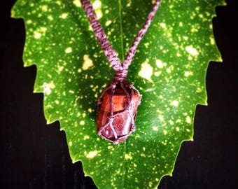 Red Tiger's Eye Macrame Necklace/ Red Tigers Eye Pendant Necklace