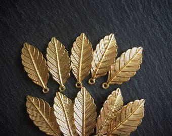 10 x Gold Leaf Charms, Gold Tone Leaf Branch Charms