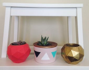 Geometric cement planter