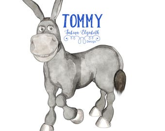 Donkey Tommy smilie 1, beige, Watercolor Clipart, Baby, Child, Fun, Craft