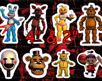 "FNAF 2"" & 4"" Party Decor / DIGITAL Five Nights At Freddy's Decor / toppers supplies/ Hero Game Clip Art / 8 different big stiker - Download"