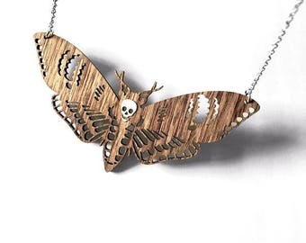 Wooden Deaths Head Moth Necklace - Large