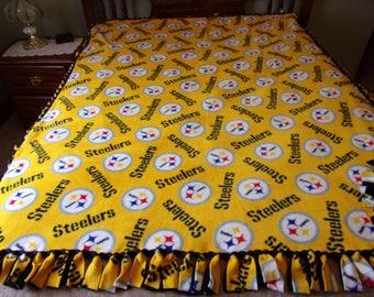 Pittsburgh Steeler handmade fleece tie blanket