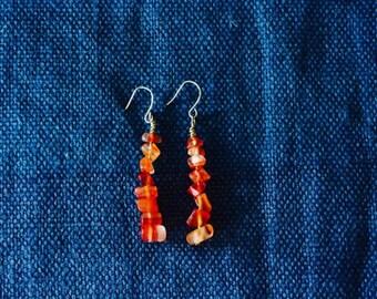 Orange natural stone - Earings