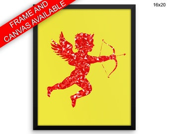 Red Cupid Printed  Poster Red Cupid Framed Red Cupid Love Art Red Cupid Love Print Red Cupid Canvas Red Cupid arrow