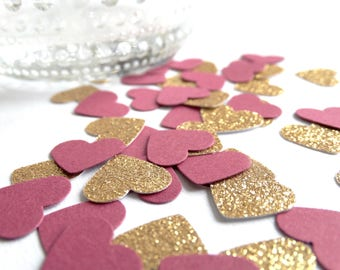 Pink And Gold Glitter Heart Confetti - Pink and Gold First Birthday - Glitter Heart Confetti