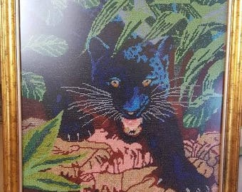"Beaded artwork ""Panther"", Wall Decor, Beaded picture, Embroidered picture, Bead embroidery"