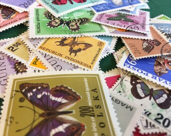 Vintage postage stamps (set of 50+)- topical collection- various butterflies- off paper