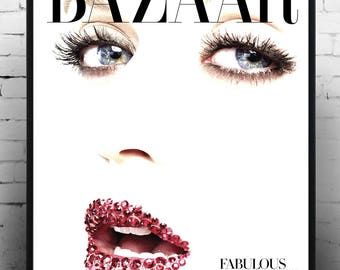 Bazaar Fashion cover, Home Decor, Print, Gift for her, Vintage Poster, Magazine Cover, Fashion Art