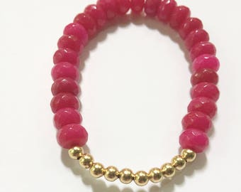 Hot Pink and Gold Beaded Bracelet