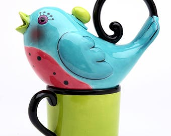 Bird Tea for One Set - Blue Bird on Green Cup