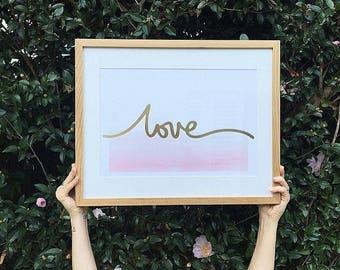 Love // Pink & Gold // A3 Print