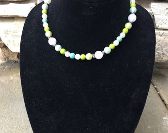 Pearl necklace with lime and teal beads