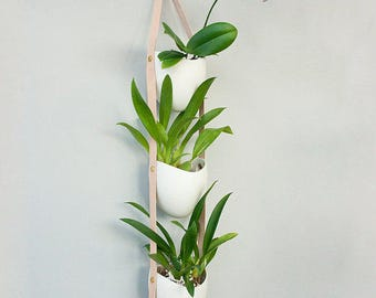 3 Tier Spora: porcelain and leather planter