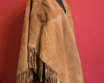 Vintage 70's Real Suede Cape with fringes