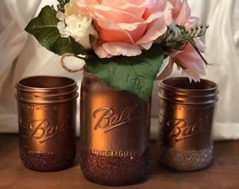 Rose Gold Wedding, Rose Gold Centerpieces, Rose Gold Mason Jar, Mason Jar Wedding, Wedding Mason Jars, Rose Gold Wedding Decor,