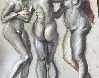 Three Graces in Charcoal