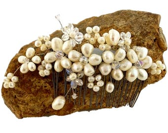 Beautiful Pearl Crystal and Sterling Hair Piece on Comb