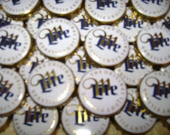 100 Lot MILLER LITE Beer Bottle Caps Crowns~No Dents! Clean!