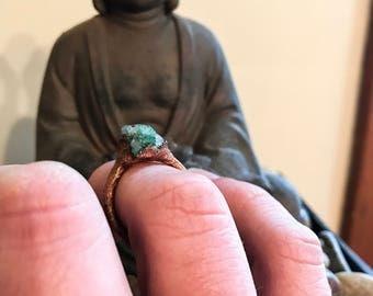 Raw tsavorite ring | Green garnet crystal ring | Tsavorite mineral ring | Raw gemstone ring | Healing tsavorite crystal ring