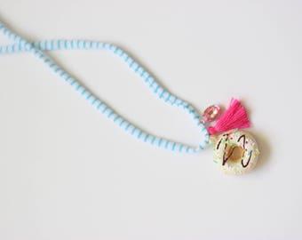 White Sprinkle Donut Necklace