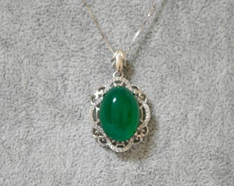 "Sterling Sliver and Jade Necklace and Ring and Earrings ""Longevity"""