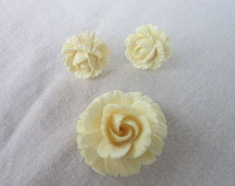 Antique Carved White Rose Brooch & Earring Set Beautiful